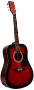 41 Inch Red Handcrafted Steel String Acoustic Guitar - Click to enlarge