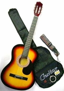 38 Inch Student Beginner Royal Brown Acoustic Guitar with Carrying Case & Accessories  & DirectlyCheap(TM) Translucent Blue Medium Guitar Pick (A38-SK) - Click to enlarge