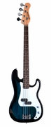 Full Size 4 String Metallic Blue Precision P Electric Bass Guitar with Gig Bag and Accessories - Click to enlarge