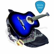 38 BLUE Acoustic Guitar Starter Package, Guitar, Gig Bag, Strap, Pitch Pipe & 2 Months Free Guitar Lessons & DirectlyCheap(TM) Pick (BU-AG38) - Click to enlarge