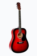 """Full Size 41"""" Red Premium Dreadnought Steel String Acoustic Guitar with Free Carrying Bag and Accessories & DirectlyCheap(TM) Translucent Blue Medium Guitar Pick"""
