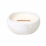 CLOSEOUT - Cinnamon Cheer Vintage Lace Large Round WoodWick Candle with HearthWick Flame | Discontinued & Seasonal WoodWick Items!