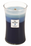 CLOSEOUT-Clothesline Fresh WoodWick Trilogy Candle 22oz | Discontinued & Seasonal WoodWick Items!
