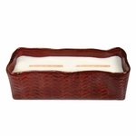 CLOSEOUT-Linen Red Leaf Large Rectangle WoodWick Candle with HearthWick Flame | Discontinued & Seasonal WoodWick Items!