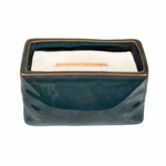 CLOSEOUT-Linen Wavy Blue Medium Rectangle WoodWick Candle with HearthWick Flame | Discontinued & Seasonal WoodWick Items!