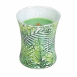 CLOSEOUT-Palm Leaf Decal Hourglass WoodWick Candle | Discontinued & Seasonal WoodWick Items!