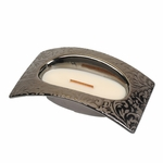 CLOSEOUT - Fireside Damask Woods Small Bridge WoodWick Candle with HearthWick Flame | Discontinued & Seasonal WoodWick Items!