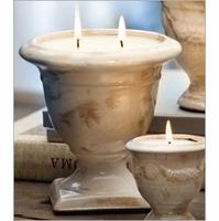 Ivory Cream Crackle Large Tuscan Urn Nouvelle Candles