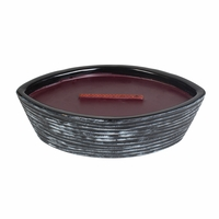 Black Cherry Black Shell Ellipse WoodWick Candle with HearthWick Flame