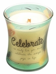 CLOSEOUT - Celebrate Linen Inspirational Collection Hourglass WoodWick Candle | Discontinued & Seasonal WoodWick Items!