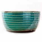 NEW! - Coconut Lime Ribbed Flat Rim Bowl Swan Creek Candle (Color: Aqua) | Swan Creek Ribbed Pottery Collection