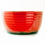 CLOSEOUT - Cranberry Apple Crisp Ribbed Flat Rim Bowl Swan Creek Candle (Color: Red) | Swan Creek Candles Closeouts