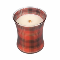 CLOSEOUT - *Crimson Berries Holiday Plaid Hourglass WoodWick Candle