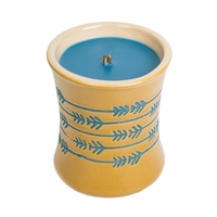 CLOSEOUT - Denim Ceramic Hourglass WoodWick Candle