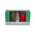 CLOSEOUT-Frasier Fir / Crimson Berries 2-Pack Holiday Jeweled Gift Set by WoodWick | Discontinued & Seasonal WoodWick Items!