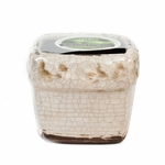 CLOSEOUT - Fresh-Cut Christmas Tree Holiday Ribbed Square Pot  (Color: White) | Swan Creek Candle Holiday Candles