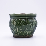 NEW! - Gingerbread Holiday Pottery Round Pot Swan Creek Candle (Color: Green) | Swan Creek Candle Holiday Pottery Candles
