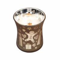 CLOSEOUT - *Jolly Gingerbread 10 oz. WoodWick Dancing Glass Candle