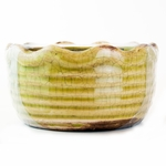 CLOSEOUT - Luscious Lemon Vanilla Ribbed Ruffled Bowl Swan Creek Candle (Color: Lime Green) | Swan Creek Candles Closeouts