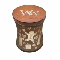 NEW! - Medium Dancing Glass Jolly Gingerbread WoodWick Candle with Lid