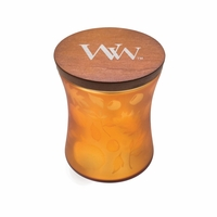 CLOSEOUT - Medium Dancing Glass Pumpkin Butter WoodWick Candle with Lid