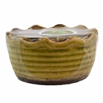 CLOSEOUT - Oakmoss & Sage Leaf Swan Creek Ribbed Ruffled Bowl Candle (Color: Lime Green) | Swan Creek Candles Closeouts