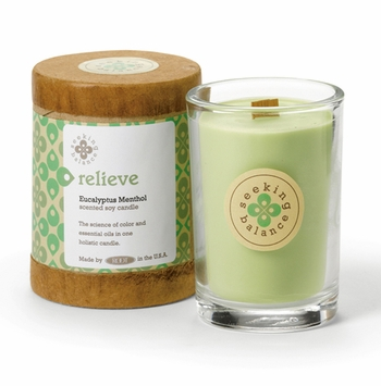 Relieve (Eucalyptus Menthol) Seeking Balance 6.5 oz. Candle by Root