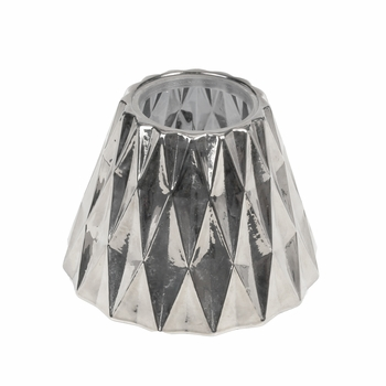 CLOSEOUT-Silver Geometric Glass Shade for 10 oz. WoodWick Candle
