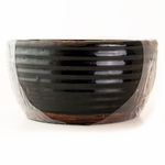 CLOSEOUT - White Peach & Clove Ribbed Flat Rim Bowl Swan Creek Candle (Color: Black) | Swan Creek Candles Closeouts