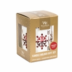 CLOSEOUT-White Snowflake with Cinnamon Cheer Petite Gift Set WoodWick Candle | Discontinued & Seasonal WoodWick Items!