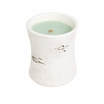 CLOSEOUT-White Willow Moss Birch Ceramic Hourglass WoodWick Candle | Discontinued & Seasonal WoodWick Items!