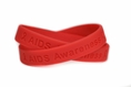 """AIDS Awareness"" Red Rubber Bracelet Wristband Adult 8"""