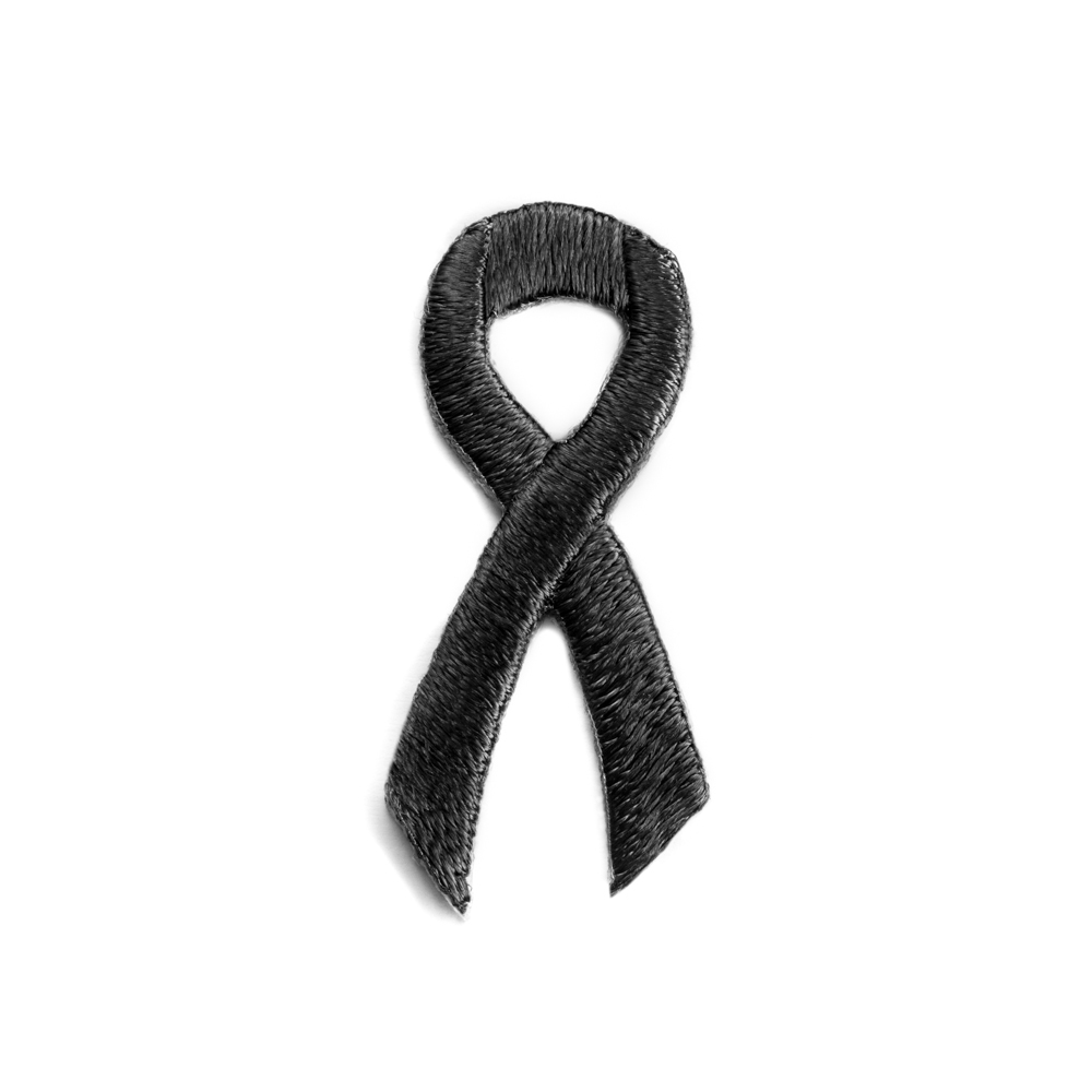 Black Awareness Ribbon Stickers Stick Ons Cancer Embroidered Liques