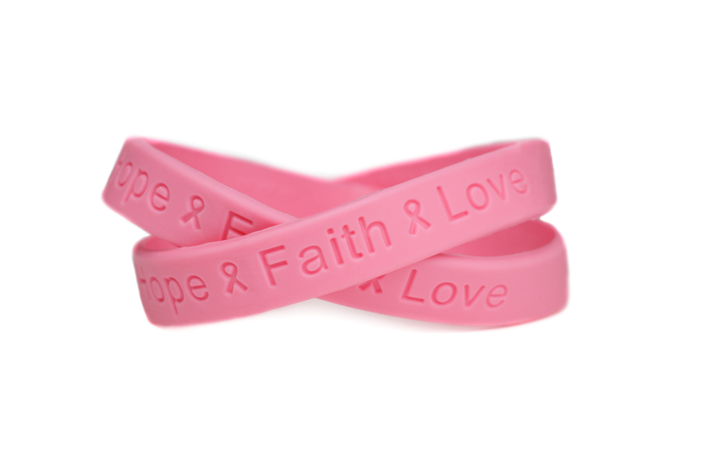 Breast cancer rubber wristband