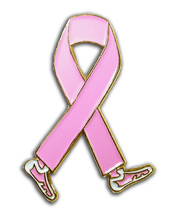 Breast Cancer Awareness Pink Ribbon Walk Lapel Pin
