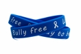 """Bully free - Way to be!"" Blue and White Wristband - Youth 7"""