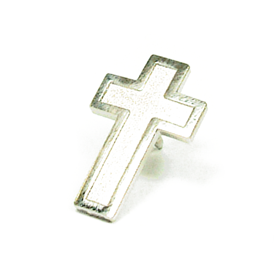 Christian Cross Lapel Pin Silver