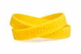 """Cure Childhood Cancer Gold Rubber Wristband - Youth 7"""""""