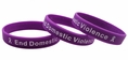 End Domestic Violence purple wristband white letters - Adult 8""