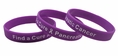 Find a Cure - Pancreatic Cancer  purple wristband white letters - Adult 8""