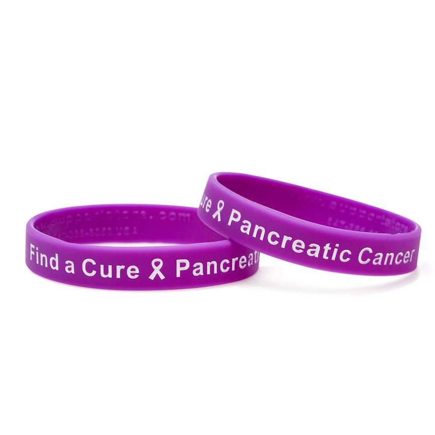 96a6117beb4 Find a Cure - Pancreatic Cancer purple wristband white letters - Adult 8