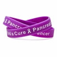 """Find a Cure - Pancreatic Cancer  purple wristband white letters - Adult 8"""""""