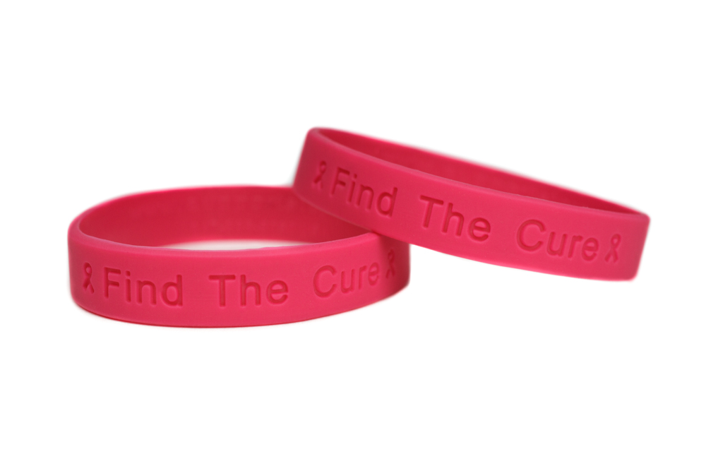 Cancer Find The Cure Hot Pink Wristband For Men Or Women Inflammatory T Awareness