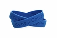 """Hope Courage Faith"" Blue Rubber Bracelet Wristband - XL 9"""