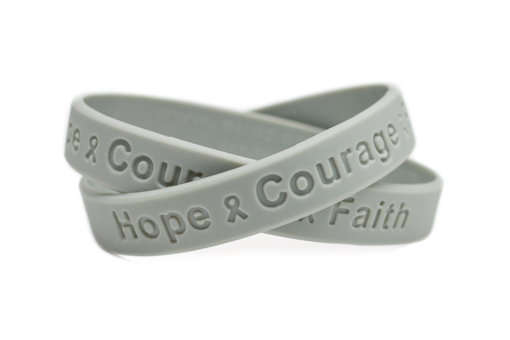 Brain Cancer Hope Courage Faith Bracelet Grey Birth Defects Awareness Wristband Gray Downs Syndrome Youth Size