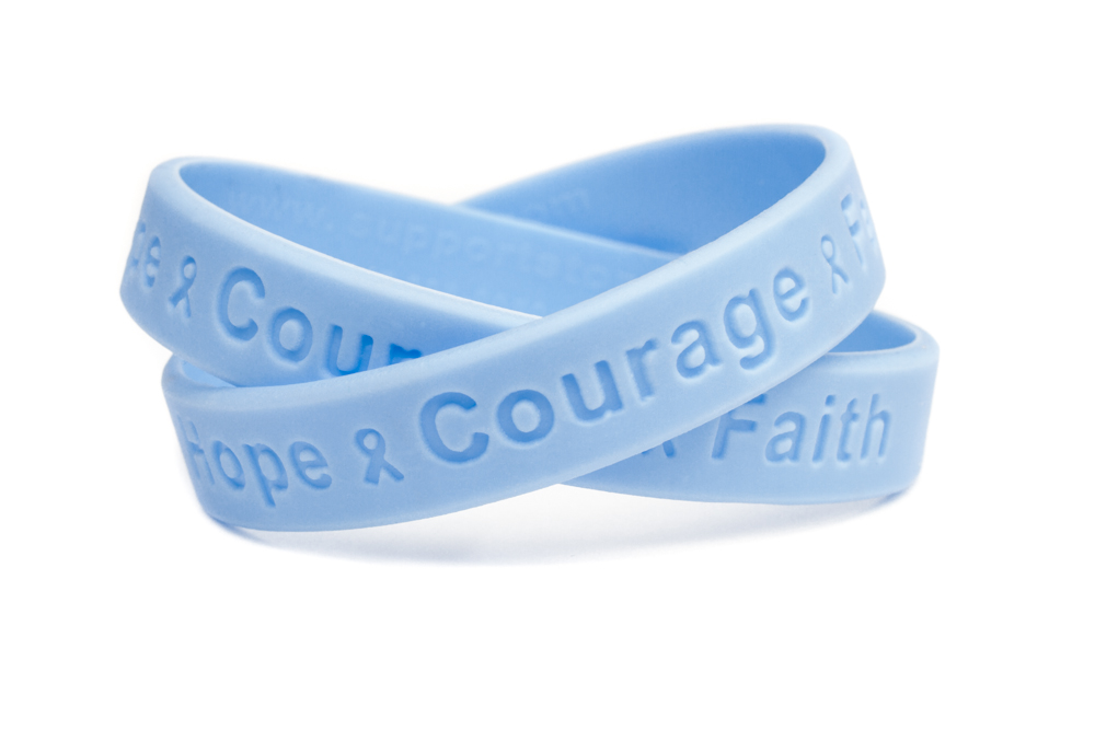 Hope Courage Faith Blue Wristband Prostate Cancer Bracelet Awarness Ribbon