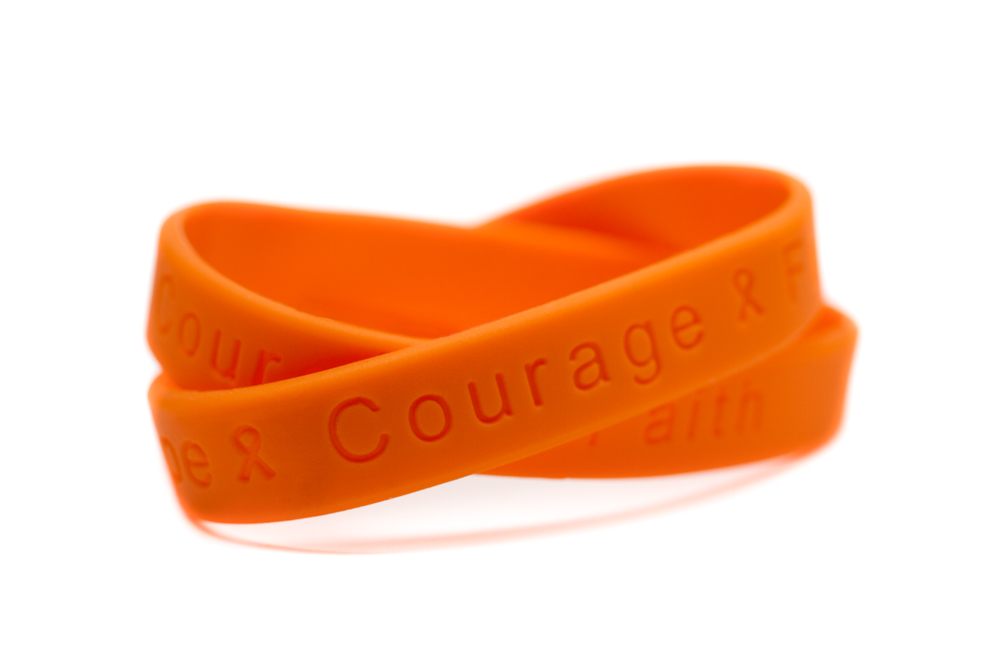 Hope Courage Faith Orange Rubber Wristband Diabetes Awareness Bracelet Leukemia