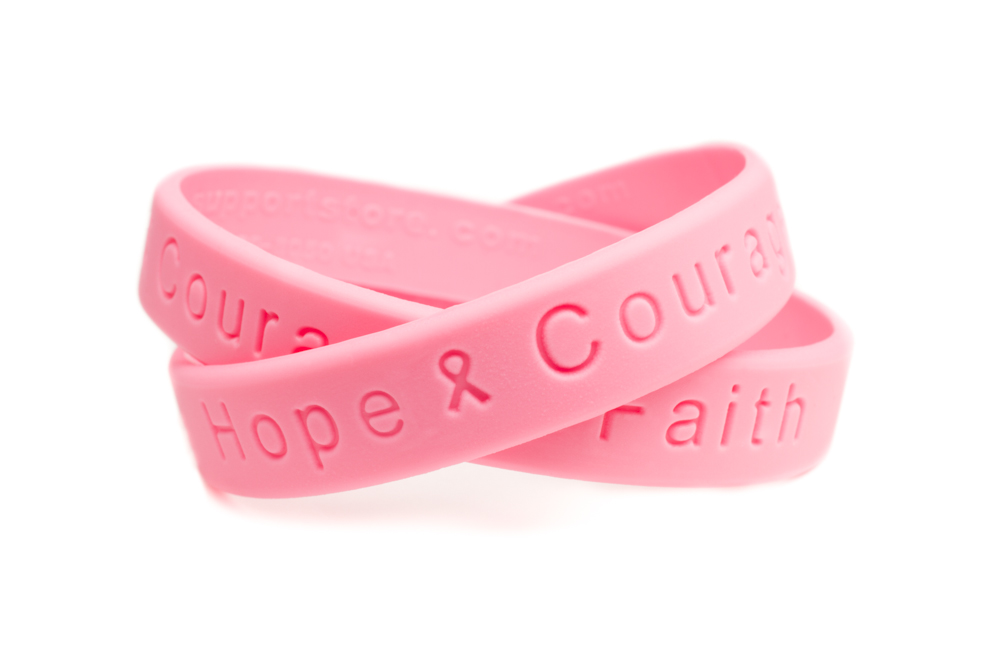 T Cancer Hope Courage Faith Rubber Wristband Pink Bracelet