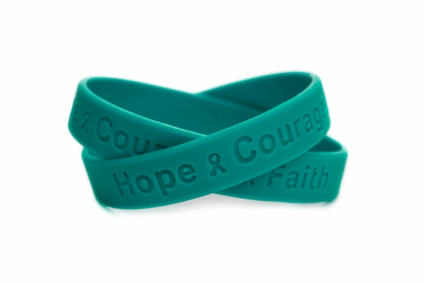 """Hope Courage Faith"" Teal Rubber Bracelet  Wristband"