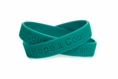 """Hope Courage Faith"" Teal Rubber Bracelet Wristband - Adult 8"""